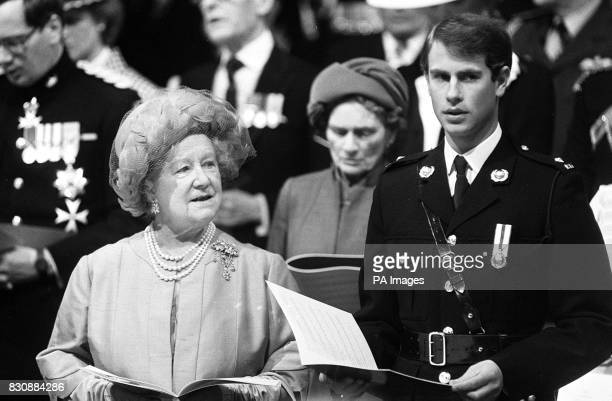 The Queen Mother Princess Alice Duchess of Gloucester and Prince Edward in Royal Marines uniform during the VEDay commemoration Service attended by...