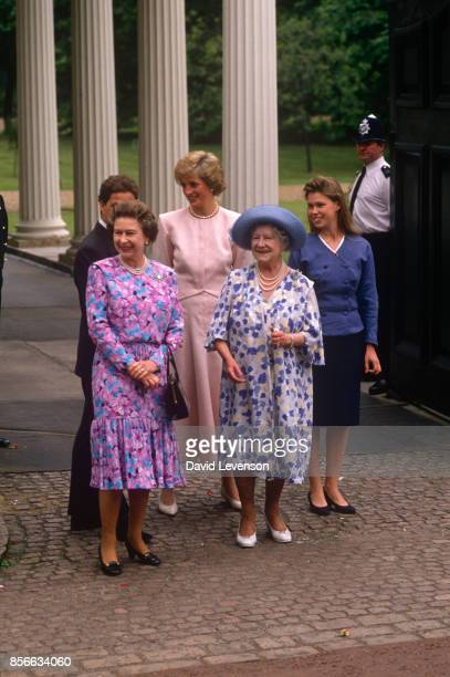 The Queen Mother Princess Diana the Queen Elizabeth II and Lady Sarah Armstrong Jones at Clarence House to celebrate her 88th Birthday on August 4...