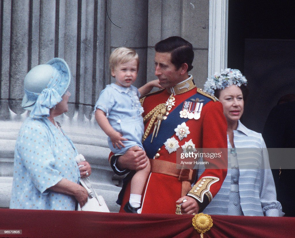The Queen Mother, the Prince of Wales, a young Prince William and Princess Margaret at Buckingham Palace, London for Tropping the Colour in June 1984