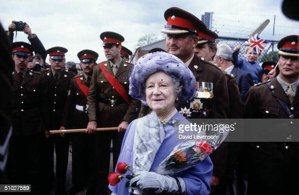 The Queen Mother visiting the Royal Anglian Regiment on May 10 1983 at Hyderabad barracks in Colchester England