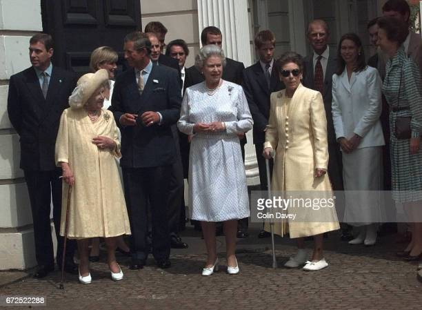 The Queen Mother with other members of the royal family outside St James' Palace at an event to mark her 99th birthday London 4th September 1999...