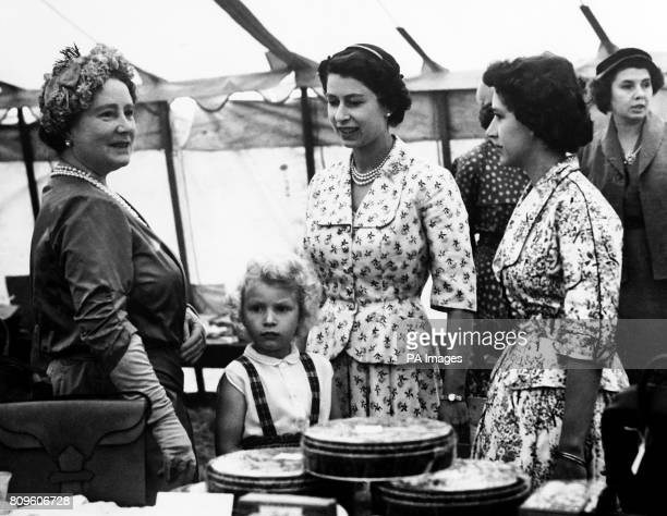 The Queen Mother with the Queen Princess Anne and Princess Margaret at a sale of work at Abergeldy Castle near Balmoral The Queen Mother had...
