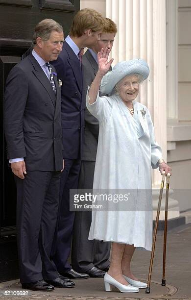 The Queen Mother's 101st Birthday At Clarence House London prince Charles Prince William Prince Harry And The Queen Mother