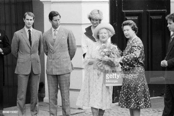 The Queen Mothers 87th birthday celebrations at Clarence House London Left to right is Prince Edward Prince Charles Princess Diana The Queen Mother...