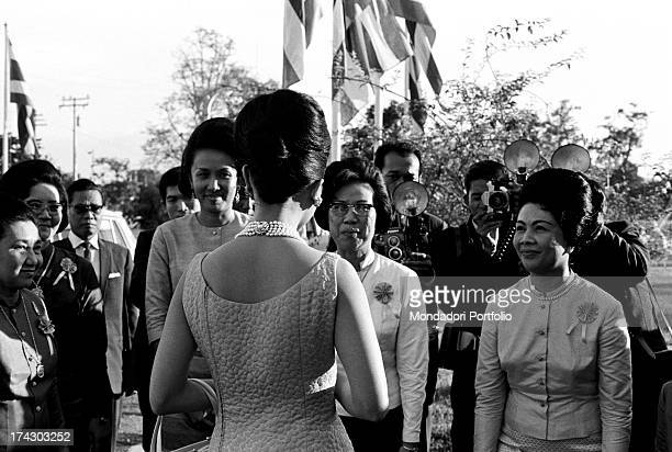 The Queen of Thailand Sirikit meets some Thai women Bangkok 1965