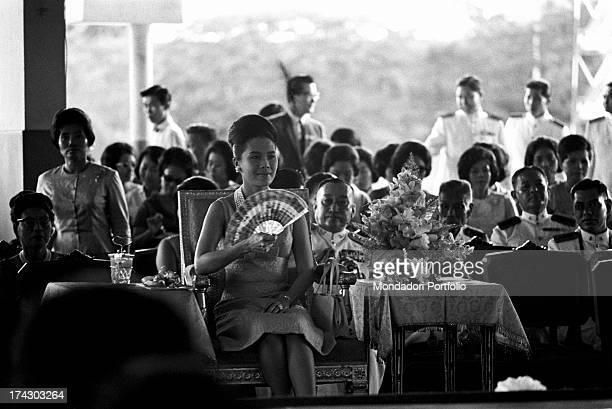 The Queen of Thailand Sirikit taking part in a fashion show Bangkok 1965