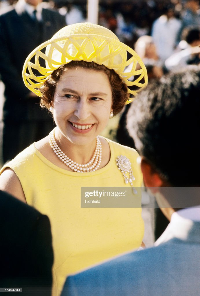 HM The Queen on a walkabout on the Seychelles in March 1972. Part of a series of photographs taken for use during the Silver Wedding Celebrations in 1972. (Photo by Lichfield/Getty Images).