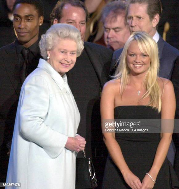 The Queen on stage with Emma Bunton in the gardens of Buckingham Palace for the second concert to commemorate the Golden Jubilee of Britain's Queen...