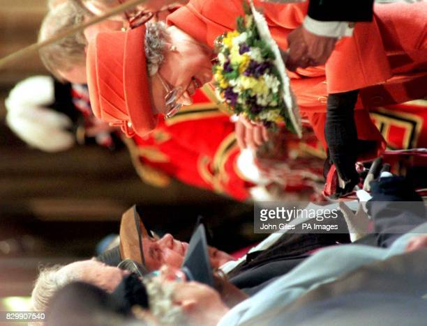 The Queen presents the traditional Maundy Money to the people of Bradford at the Royal Maundy Service today in Bradford Cathedral During the service...
