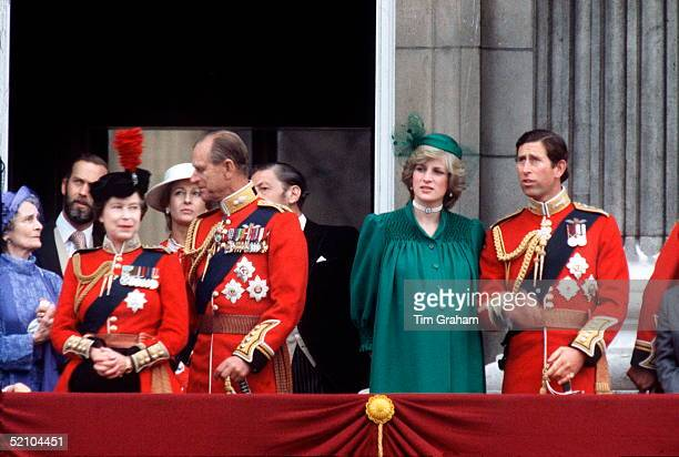 The Queen Prince Philip Princess Diana And Prince Charles On The Balcony At Buckingham Palace Watching Trooping The Colour Princess Diana With...