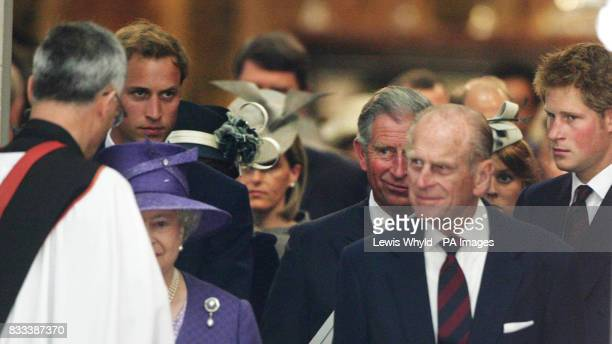 The Queen Prince William Prince Charles the Duke of Edinburgh and Prince Harry at the Service of Thanksgiving for the life of Diana Princess of Wales...