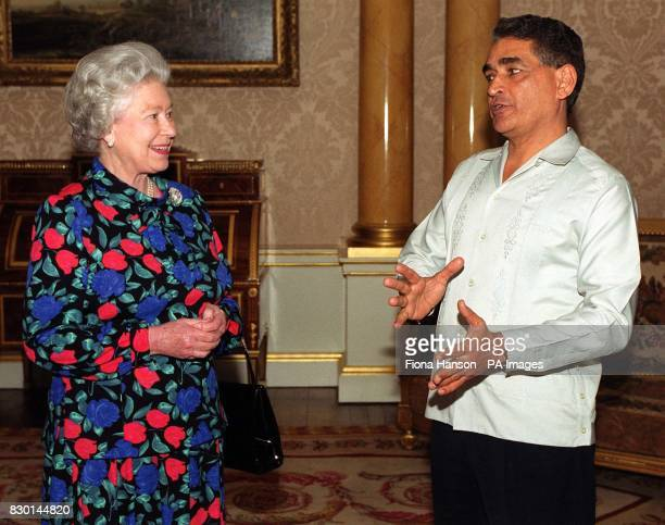 The Queen receives Mr Assad Shoman at Buckingham Palace in London on his appointment as High Commissioner of Belize