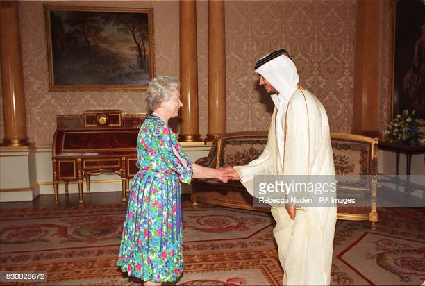 The Queen receives Sheikh Jassim bin Hamad Al Thani the Crown Prince of Qata inside Buckingham Palace today Rota picture by Rebecca Naden/PA