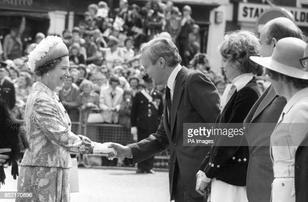 The Queen shakes hands with Labour politician Tony Wedgwood Benn during her Jubilee tour in Bristol