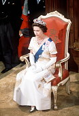 The Queen Sitting On Throne While Opening Parliament In Wellington New Zealand During Her Silver Jubilee Tour