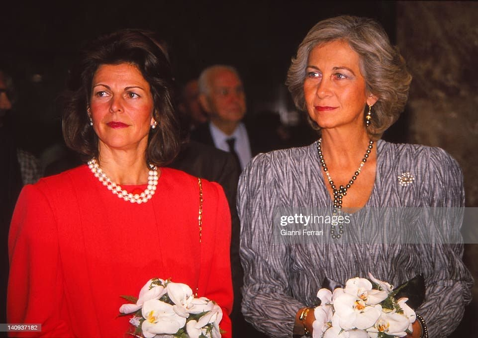 The Queen Sofia Spanish and Swedish Queen Silvia, during the visit of the Kings of Sweden to Spain, 1989, Madrid, Spain.