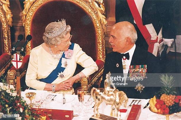 The Queen Talking To King Hussein Of Jordan At A State Banquet At The Guildhall To Commemorate The 50th Anniversary Of The End Of War In Europe