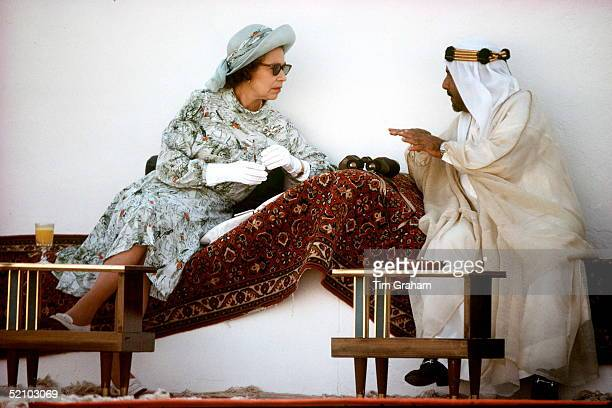 The Queen Talking With The Emir Of Bahrain During Horse Racing And Camel Racing In Bahrain