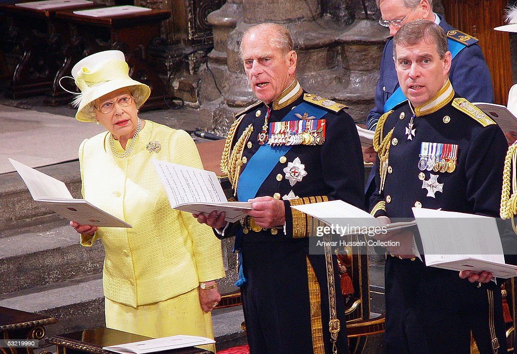 HM The Queen, the Duke of Edinburgh and the Duke of York sing a hymn during a National Service Of Thanksgiving and Remembrance for a congregation of World War II veterans, marking the end of the World War II 60 years ago, at Westminster Abbey on National Commemoration Day July 10, 2005 in London.