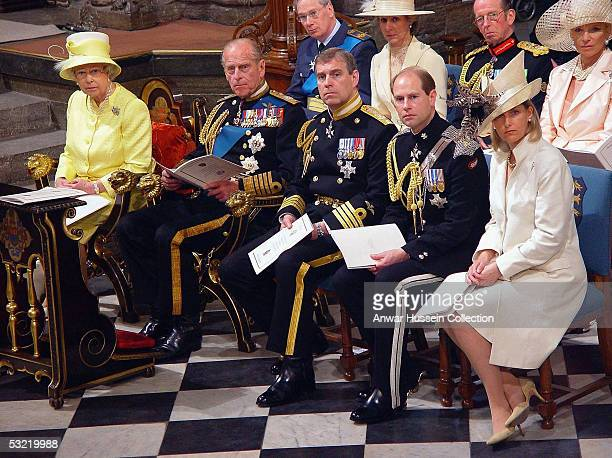 HM The Queen the Duke of Edinburgh the Duke of York the Earl of Wessex and Sophie Countess of Wessex attend a National Service Of Thanksgiving and...