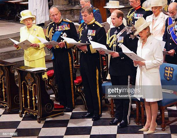 HM The Queen the Duke of Edinburgh the Duke of York the Earl of Wessex and Sophie Countess of Wessex sing a hymn during a National Service Of...