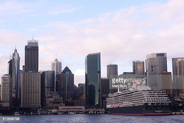 The MS Queen Victoria cruise liner docks at the Overseas Passenger Terminal at Circular Quay on February 29 2016 in Sydney Australia