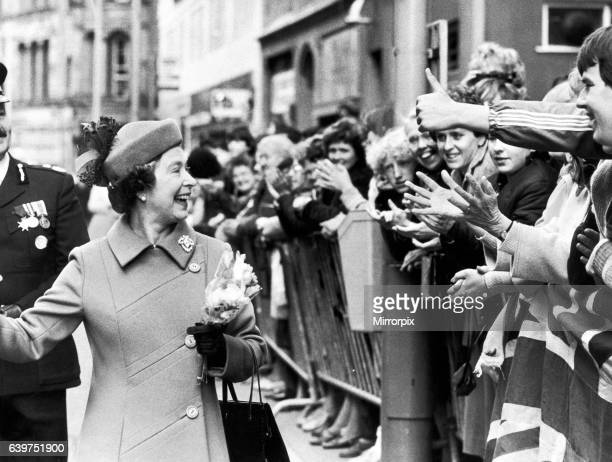 The Queen visits Manchester The Queen laughs as she is greeted by the crowd 13th May 1982