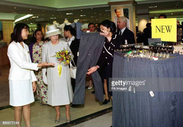 The Queen was shown a pair of stretch Lycra leggings when she visited Marks Spencer in Kuala Lumpur and asked 'Why are they popular' Photo by Arthur...