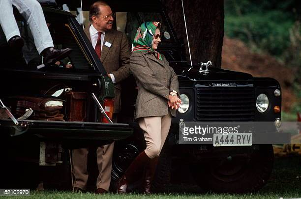 The Queen Wearing Jodhpurs And A Headscarf At The Windsor Horse Show With Her Friend Count Andraxy From Liechtenstein They Are Standing By The Queens...