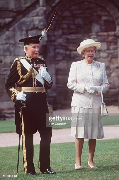 The Queen With Captain General Goldstick During A Garden Party On 1st July 1993 At The Palace Of Holyroodhouse While There The Sovereign's Guard Is...