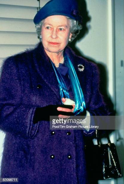 The Queen With Her Bandaged Arm In A Sling Because Of A Fractured Wrist Suffered In A Horse Accident Visits Mount Vernon Hospital