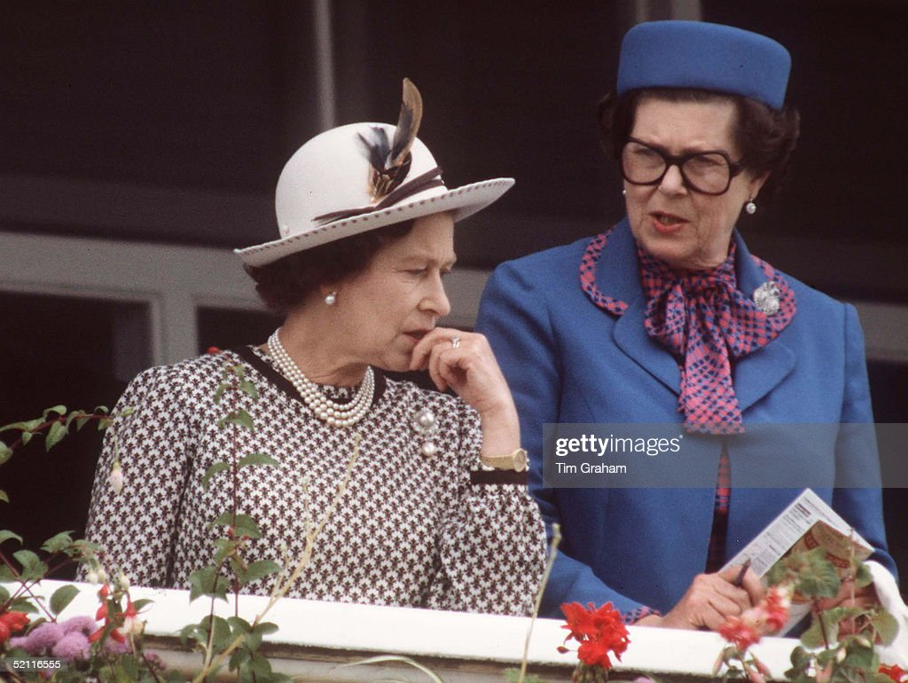 The Queen With Lady Kathryn Dugdale (mrs John Dugdale), Lady-in-waiting, At The Derby Circa 1980s