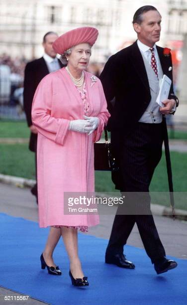 The Queen With Lieutenant Colonel Sir Malcolm Ross Comptroller Of The Lord Chamberlain's Office Arriving For The Wedding Of Viscount Linley To Lady...
