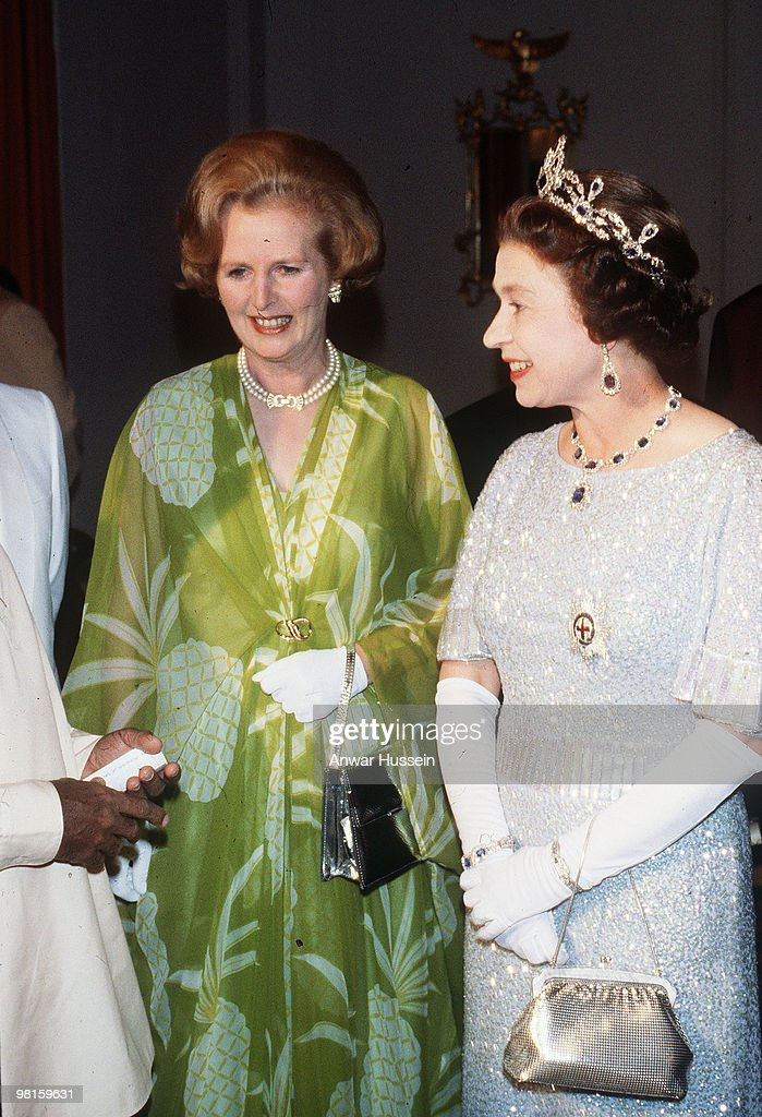 The Queen with Margaret Thatcher in Lusaka, Zambia for the Commonwealth conference in 1979
