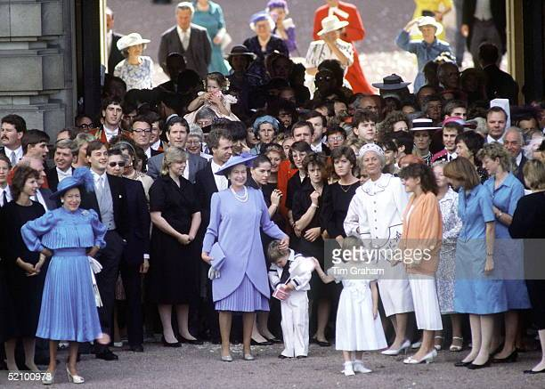 The Queen With Members Of Her Family And Household At Buckingham Palace After The Duchess Of York's Wedding