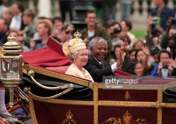 The Queen With President Nelson Mandela Of South Africa In The Mall At The Beginning Of His State Visit To Britain