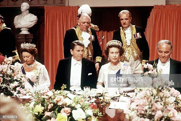 The Queen With President Reagan At A State Banquet At Windsor Castle