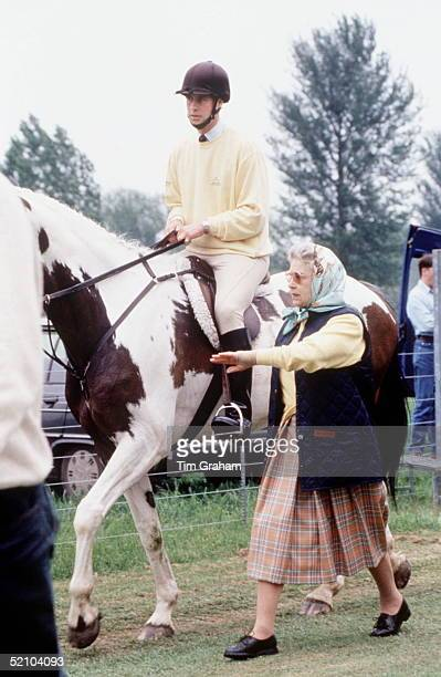 The Queen With Prince Edward On His Skewbald Horse At The Royal Windsor Horse Show