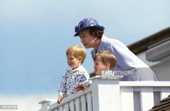 The Queen With Prince William And Prince Harry In The Royal Box At Guards Polo Club Smiths Lawn Windsor