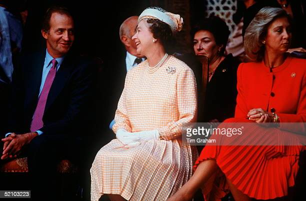 The Queen With The King Of Spain In Seville And Queen Sofia