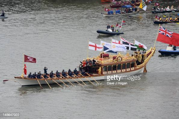 The Queens Diamond Jubillee Thames river Pageant passes The Savoy Hotel on June 3 2012 in London England For only the second time in its history the...