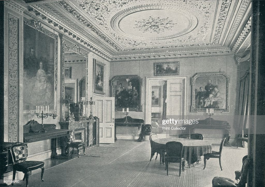 The Queen's Dining Room at Osborne House' c1899 The Queens Dining Room was converted into a temporary chapel for the lying in state of Queen Victoria...