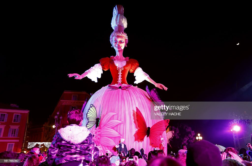 The Queen's float parades during the Nice carnival parade on February 15, 2013 in Nice, southeastern France. The Carnival, starting from February 15 until March 6, 2013, will celebrate the 'King of the five continents', marking the 140th anniversary of the French Riviera Nice carnival.