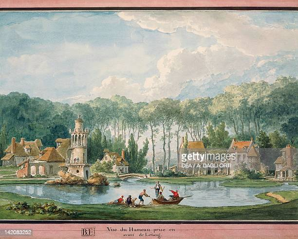 The Queen's hamlet in the garden of the Petit Trianon at Versailles by ClaudeLouis Chatelet France 18th Century