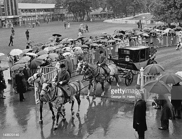 The Queen's landau arrives in the rain for the fourth day of Royal Ascot 18th June 1971