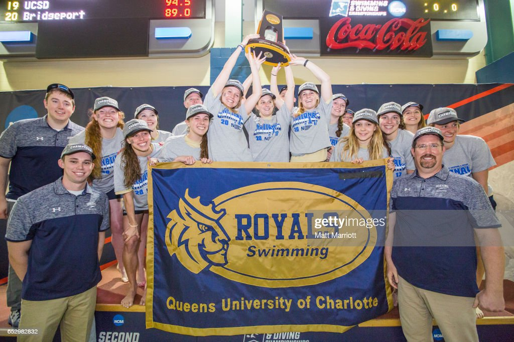 The Queens University Women's swimming and diving team celebrate after taking first place with 467 points during the Division II Men's and Women's Swimming & Diving Championship held at the Birmingham CrossPlex on March 11, 2017 in Birmingham, Alabama.