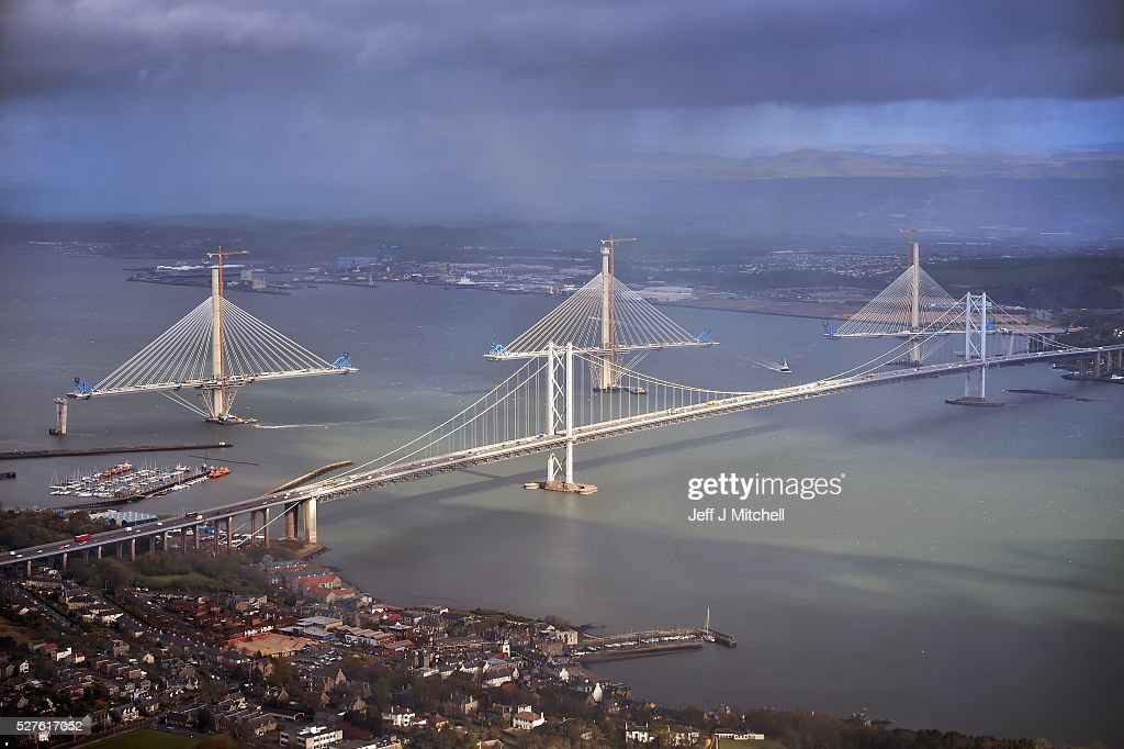 The Queensferry Crossing is seen from the window as Scottish Conservative leader Ruth Davidson travels in a helicopter during a coast-to-coast tour as campaigning continues for the Holyrood election on May 3, 2016 in South Queensferry, United Kingdom. As campaigning for the Holyrood election enters its last forty eight hours, recent polls suggest the Conservatives are virtually neck-and-neck with Labour in the race to be the main opposition party in Scotland.