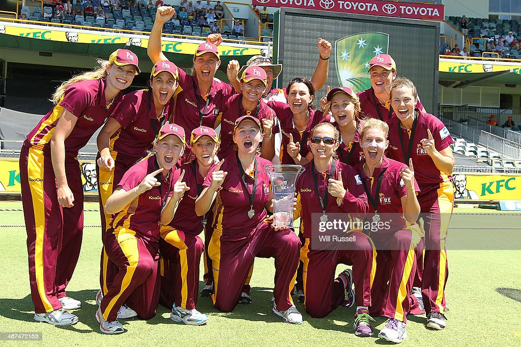 The Queensland Fire celebrate after defeating the ACT Meteors during the WT20 Final match between Queensland and the ACT at WACA on February 7 2014...