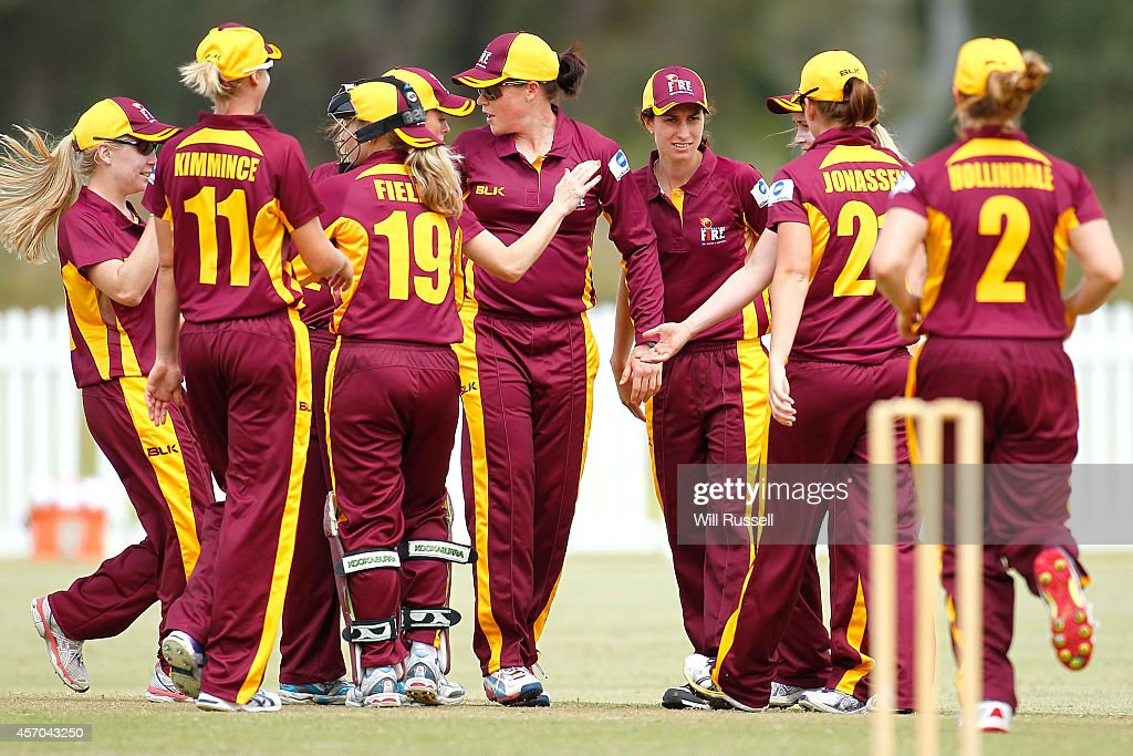 The Queensland Fire celebrate after taking the wicket of Emma Biss of The Western Fury during the WNCL match between Western Australia and Queensland...