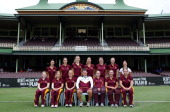 The Queensland Fire pose for a team photo in front of the SCG members stand before the start of play at the WNCL Final match between the NSW Breakers...